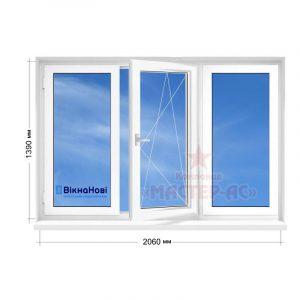 окно трехстворчатое пластиковое Вікна Нові в 5-этажку купить Харьков