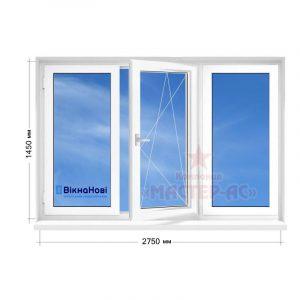 металлопластиковое окно трехстворчатое в 9 и 12-этажку чешка Вікна Нові с установкой Харьков