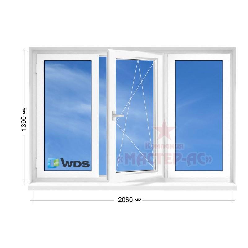 трехстворчатое окно пластиковое wds в 5-этажку купить харьков