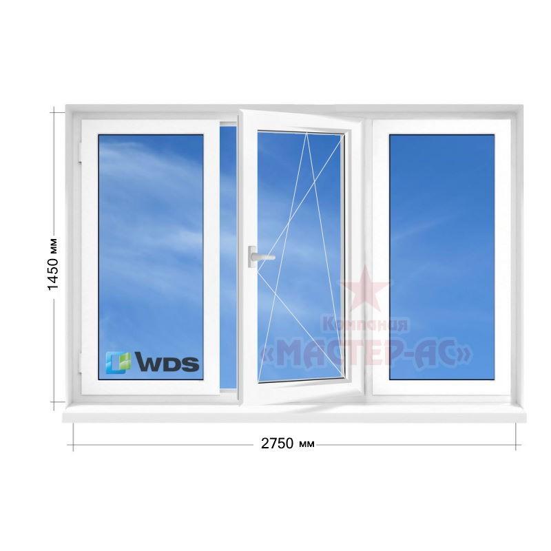 пластиковое окно wds трехстворчатое чешка в 9, 12-этажку цена харьков