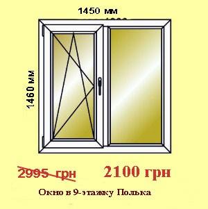 скидки на пластиковые окна для 9-этажки двухстворчатые: низкая цена харьков